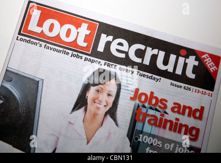 Loot Recruit free weekly jobs paper, London - Stock Photo