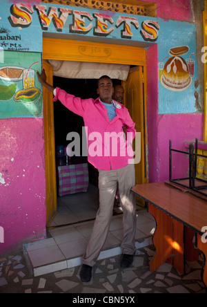 Sweets Shop Entrance Man Standing In Frame Of Door Boorama, Somaliland - Stock Photo