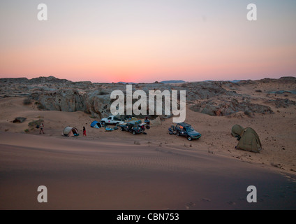 Tourists On Camp In The Namib Desert For The Night, Iona National Park, Angola - Stock Photo