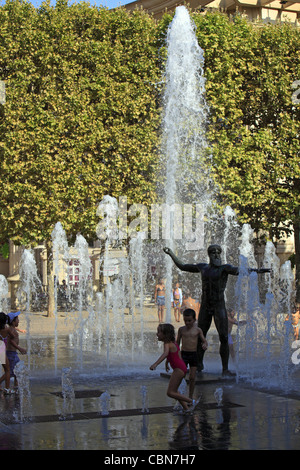 Fountain of Zeus, the Golden Square in Montpellier, France - Stock Photo