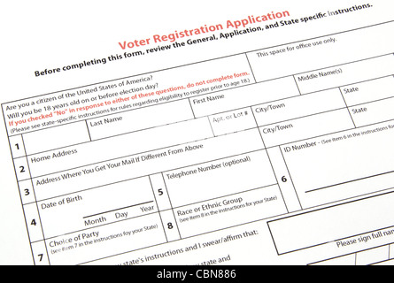 Us voter registration application stock photo royalty free voter registration application for the us ready to be filled out stock photo sciox Choice Image