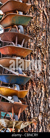 Stacked Wheelbarrows, Cle Elum, Washington - Stock Photo
