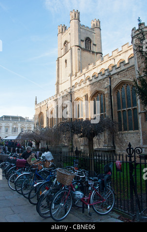 Rows of bicycles at St Mary's church at Market Square, Cambridge, UK - Stock Photo