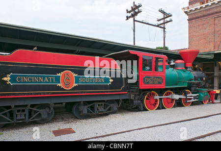 Tennessee, Chattanooga, Chattanooga Choo Choo Historic Hotel, old railroad cars are now used as restaurants and - Stock Photo