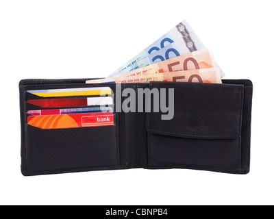 wallet with cash (euros) and cards - Stock Photo