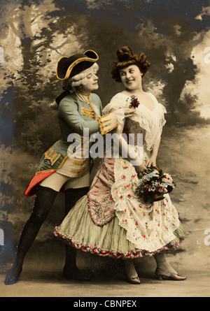 18th Century Upper Class Couple Flirting - Stock Photo