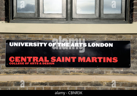 Central Saint Martins, College of Arts & Design University of the Arts London sign Kings Cross Central N1C London - Stock Photo
