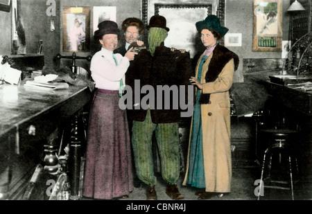 Three Women Capture the Invisible Man - Stock Photo