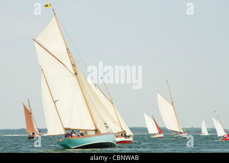 Gaff Rigged vessels racing at the 2011 Old Gaffers Festival, Yarmouth, Isle of Wight - Stock Photo