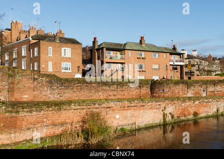 The old city walls along the river front in Chester - Stock Photo