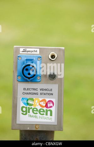 An electric car carging point at Bedzed the UK's largest eco village Beddington London UK - Stock Photo