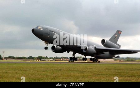 ROYAL AIR FORCE MIDENHALL, England -- A KC-10 Extender from Travis Air Force Base, Calif., takes off on a mission. - Stock Photo