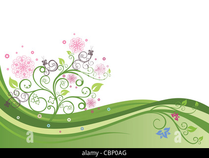 Flowering tree in a spring field vector illustration. - Stock Photo