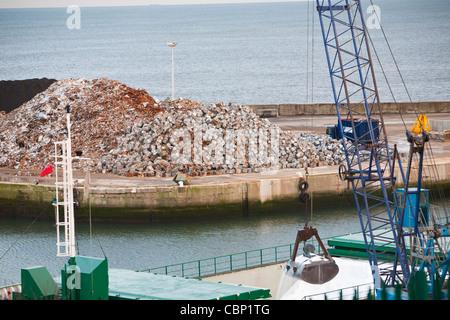 A ship unloading chemicals at Seaham docks near Sunderland, North East, UK. - Stock Photo