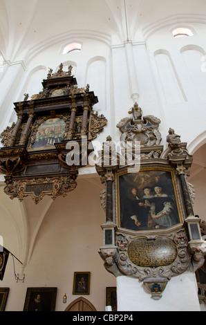 Denmark, Helsingoer. Helsingoer Domkirke St. Olai (aka Helsingoer Cathedral) - Stock Photo