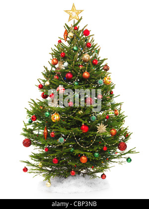 Beautiful decorated Christmas tree with a star topper isolated on white background. - Stock Photo