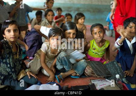 Indian children at Rajyakaiya School in Narlai village, Rajasthan, Northern India - Stock Photo