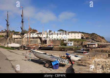 Coastal village scene near the old fishing harbour. Charlestown, Cornwall, England, UK, Britain. - Stock Photo