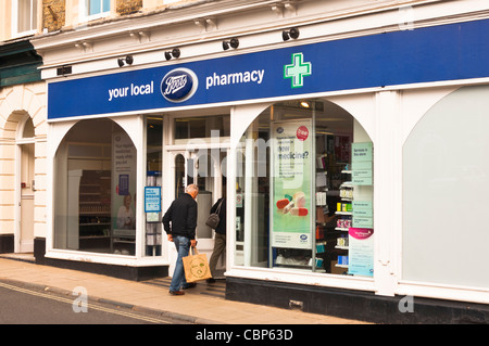 The Boots the chemist shop store in Halesworth , Suffolk , England , Britain , Uk - Stock Photo