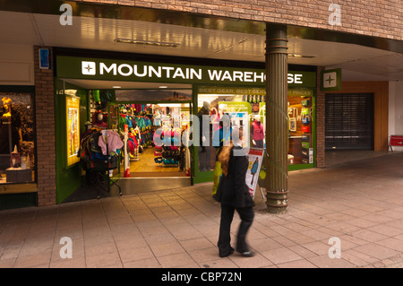 The Mountain Warehouse shop store in Norwich , Norfolk , England , Britain , Uk - Stock Photo