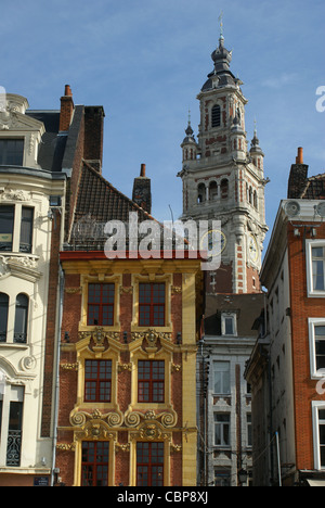 old buildings in Lille, france - Stock Photo
