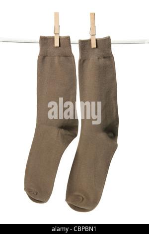 Socks Hanging on Clothesline - Stock Photo