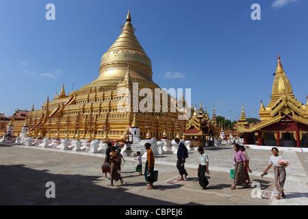 Shwezigon Pagoda, Bagan in Myanmar - Stock Photo
