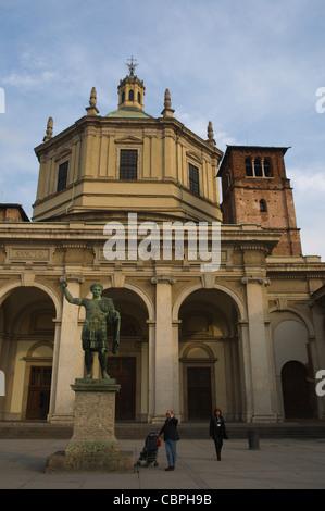 Basilica di San Lorenzo Maggiore church along Corso di Porta Ticinese street Milan Lombardy region Italy Europe - Stock Photo