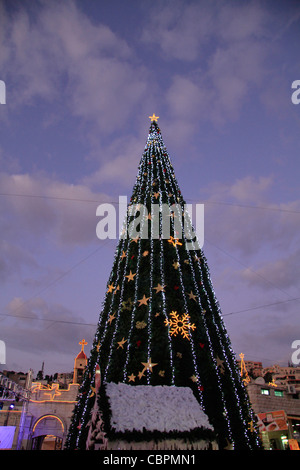 Israel, Lower Galilee, Christmas in Nazareth in front of St. Gabriel Church - Stock Photo