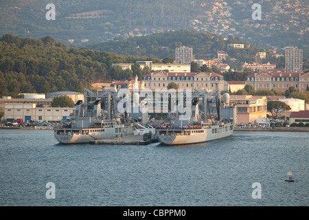The French Navy Durance class replenishment ships A608 Var and A630 Marne at the French Naval base Toulon France - Stock Photo
