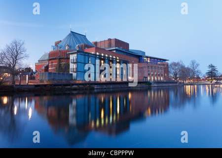 Royal Shakespeare Theatre on the River Avon at Dusk. Stratford-upon-Avon. Warwickshire. England. UK. - Stock Photo
