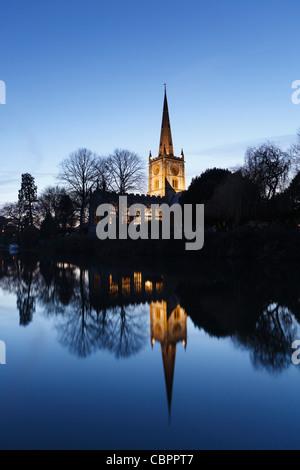 Holy Trinity Church at Dusk. Stratford-upon-Avon, Warwickshire, England, UK.  Burial Place of William Shakespeare. - Stock Photo
