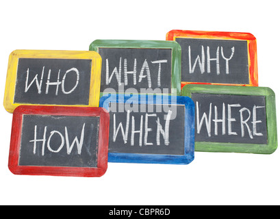 brainstorming questions - what, when, where, why, how, who - white chalk handwriting on vintage slate blackboards - Stock Photo