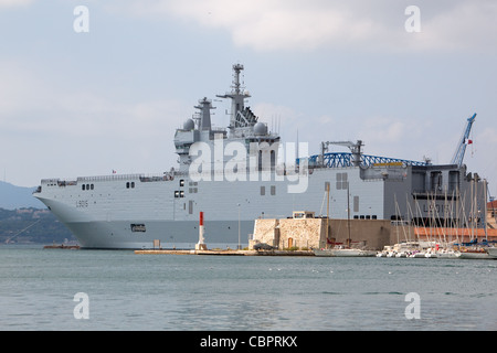 Dixmude (L9015) is an amphibious assault ship, of the French Navy at the French Naval base Toulon France - Stock Photo