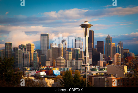 Seattle skyline on a fall afternoon in November - Stock Photo