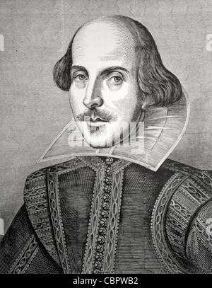 William Shakespeare (1564-1616) Portrait by Martin Droeshout. Frontispiece of First Folio Edition of Collected Works - Stock Photo