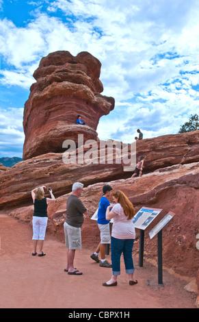 Colorado Springs Colorado Garden of the Gods National Park Balanced Rock attraction boulder - Stock Photo