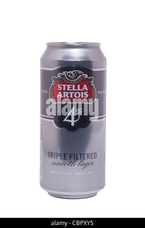A can of Stella Artois 4% triple filtered smooth lager beer on a white background - Stock Photo