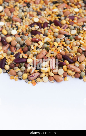 Pulses, seeds and bean pattern on white background - Stock Photo