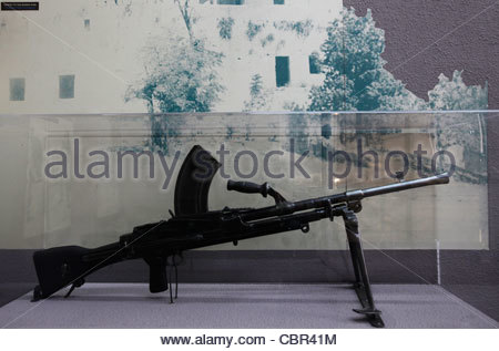 Weaponry used by the members of the Israeli paramilitary group Etzel on display at the Etzel museum which offers - Stock Photo