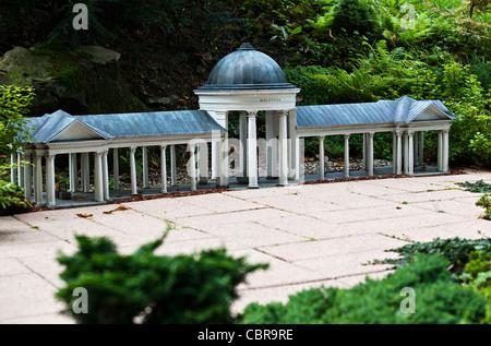 Model of Colonnade of Caroline's spring in the Boheminium Park in Marianske Lazne. Pictured on September 20, 2011 - Stock Photo