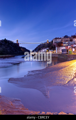Clifton Suspension Bridge from Cumberland Basin, Bristol. - Stock Photo