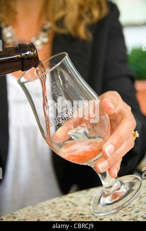 Vertical close up of a traditional Hoegaarden Belgian beer being poured by a woman into a distinctive tulip shaped - Stock Photo