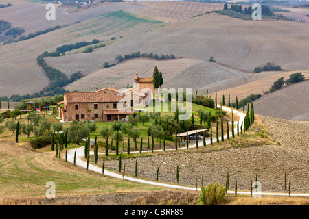 Landscape of the Crete Senesi area, southeast of Siena, near Asciano, Tuscany, Italy, Europe - Stock Photo