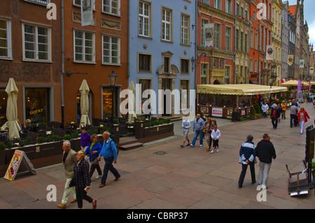 Ulica Dluga street Glowne Miasto the main town Gdansk Warsaw Poland Europe - Stock Photo