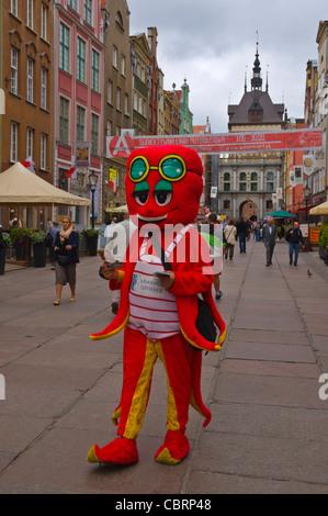 Mascot along Dluga street Glowne Miasto main town Gdansk Warsaw Poland Europe - Stock Photo