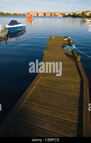 Wooden pier Saltö island Karlskrona in Blekinge county southern Sweden Europe - Stock Photo