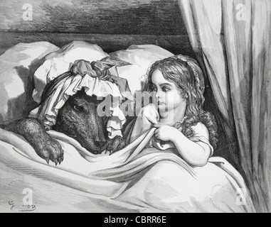 The Disguised Wolf and Little Red Riding Hood, Engraving by Gustave Doré, 1862 - Stock Photo