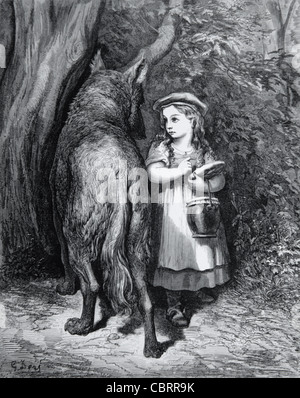 Little Red Riding Hood & the Big Bad Wolf, Engraving by Gustave Doré, 1862 - Stock Photo