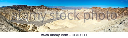 Panoramic view looking east from Zabriskie Point in Death Valley National Park, California, United States - Stock Photo